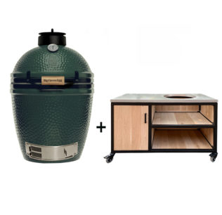 Big-Green-Egg-Medium-met-tafelkast-oak-steel-storage