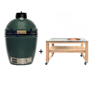 Big-Green-Egg-Medium-met-eikenhouten-tafel-rvs blad