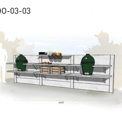 Lichtgrijs: €6.175 Antraciet: €6.900. De prijs is inclusief transport, installatie en BTW. Exclusief BBQ en accessoires.