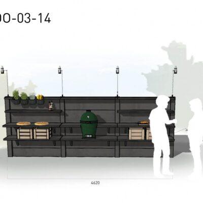 Lichtgrijs: €7.990 Antraciet: €8.985. De prijs is inclusief transport, installatie en BTW. Exclusief BBQ en accessoires.